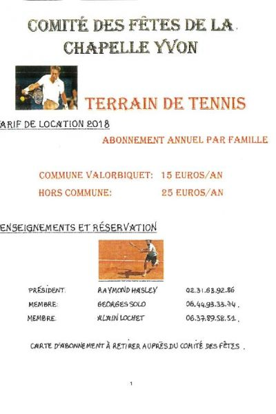 TERRAIN DE TENNIS - TARIF DE LOCATION 2018